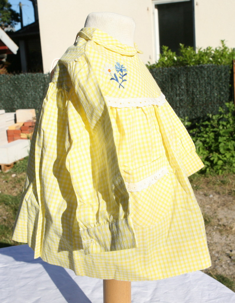 robe blouse vintage coton jaune a et lk neuve 18 mois ebay. Black Bedroom Furniture Sets. Home Design Ideas